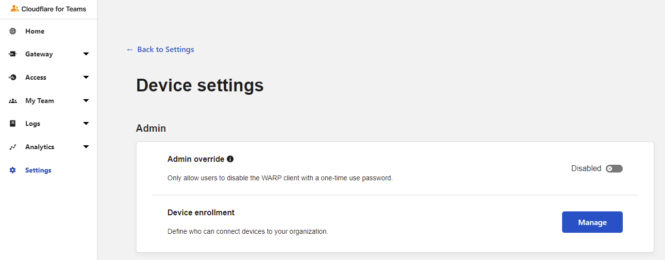 Navigating to the Manage Device Enrollment settings.