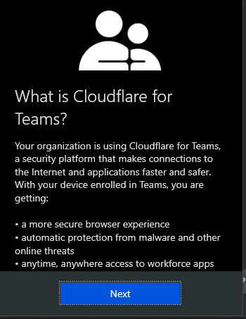 Cloudflare Teams informational pop-up.