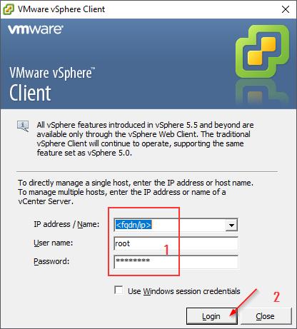 Login Form vSphere Client Version 6.0