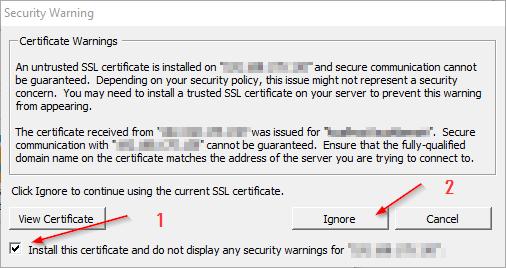 Log on Certificate Warning