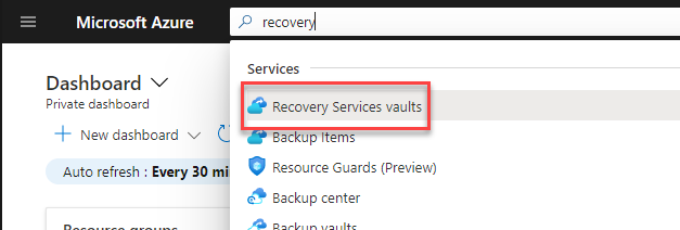 Open Recovery Services Vault