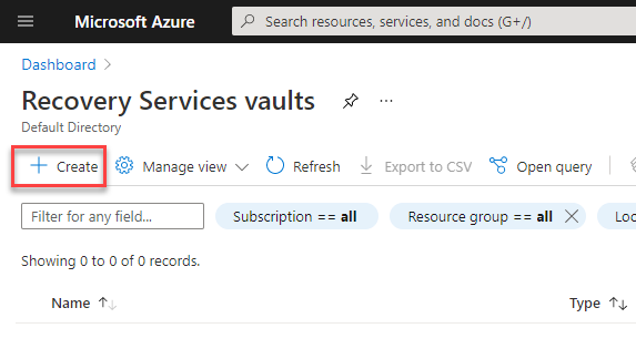 Create Services recovery vault