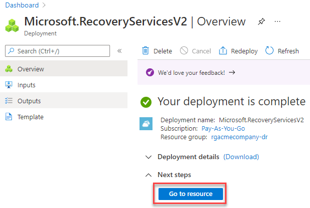 recovery services vault created