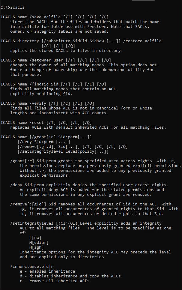 Viewing icacls command's default output