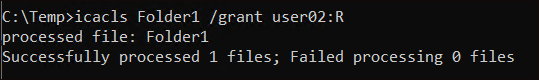 Displaying grant switch output in icacls command
