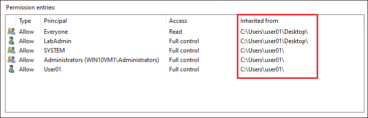 Displaying file advanced permissions before changing inheritance