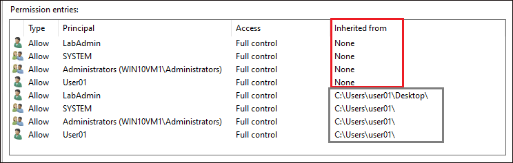 Viewing Inherited Permissions and Explicit Permissions