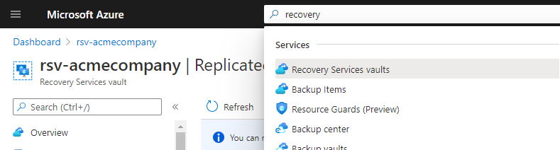 Opening Recovery Services Vault.