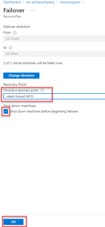 Options for failover