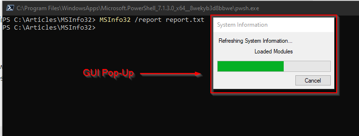 Exporting a System Information report as a TXT file on the command line. Notic