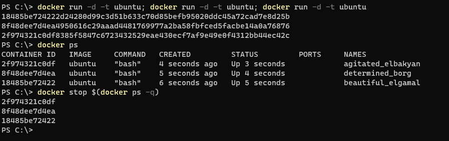 Stopping multiple Docker containers at once.