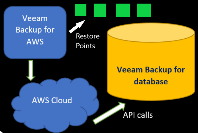 Veeam Backup for AWS retrieving configuration data through API and storing it in AWS database