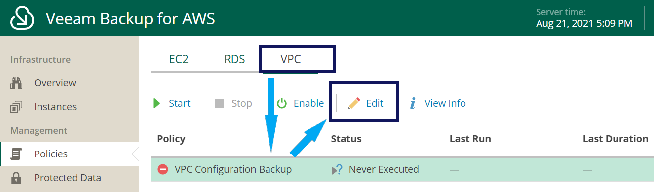 Editing the VPC Backup Policy