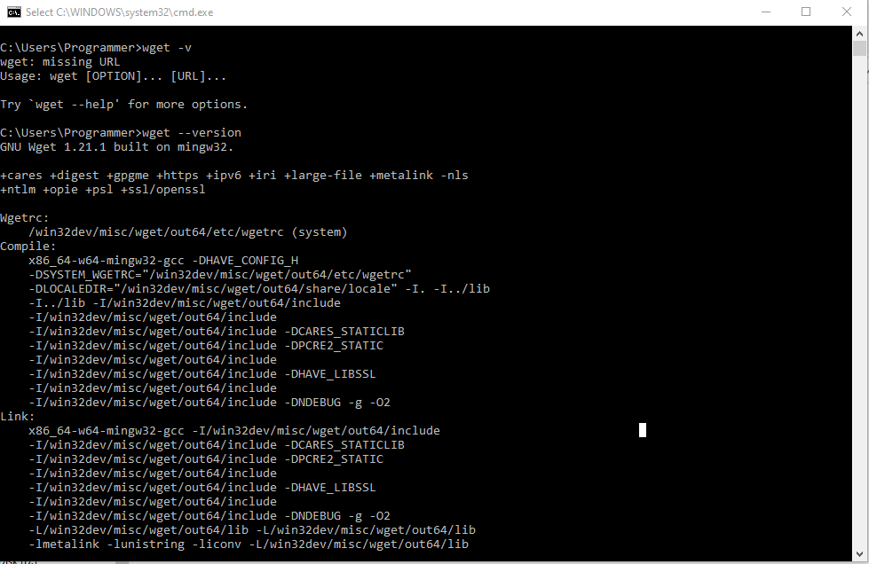 Confirming if Wget was successfully installed.