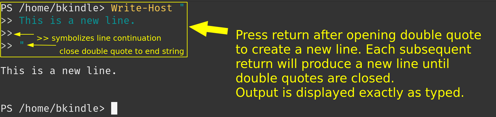Creating new lines with double quotes