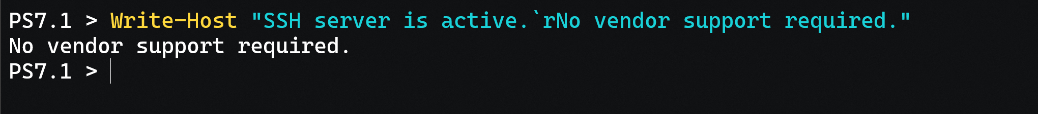 See how tricky `r can be? It makes part of the message disappear.