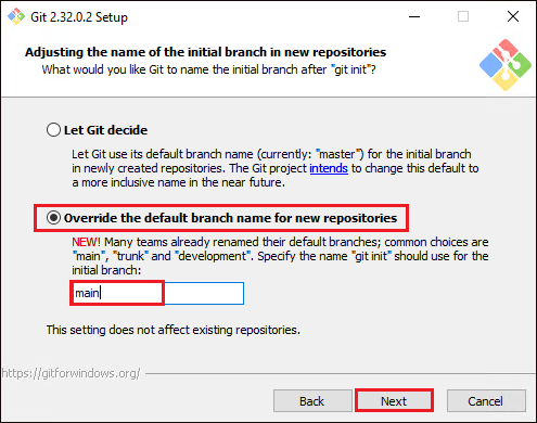Selecting Default Branch Name