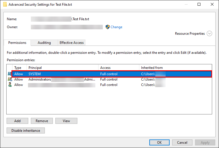Viewing Permissions of a Permission Entry