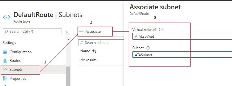 Associate route table to subnet