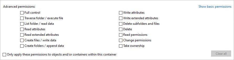 Viewing Advanced Permissions