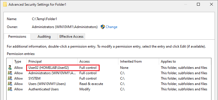 Displaying Added User with Full Permissions to Folder1