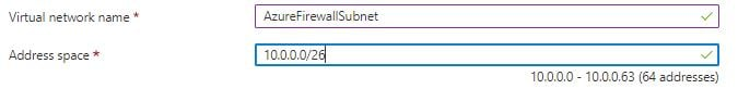 Entering Vnet name and address space