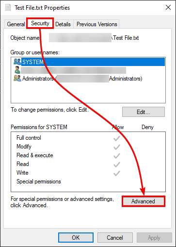 Accessing Advanced Security Settings