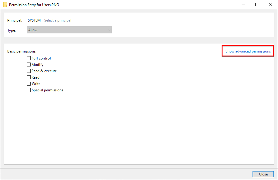 Viewing Basic Permissions