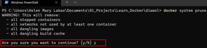 Confirming Docker System Pruning