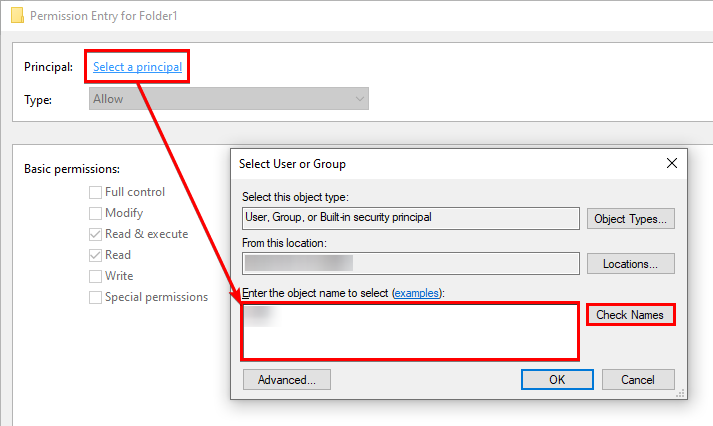 Selecting User or Group ID to Add to the Folder1's Permissions