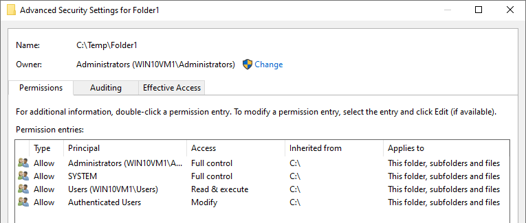 Displaying restored permissions for Folder1