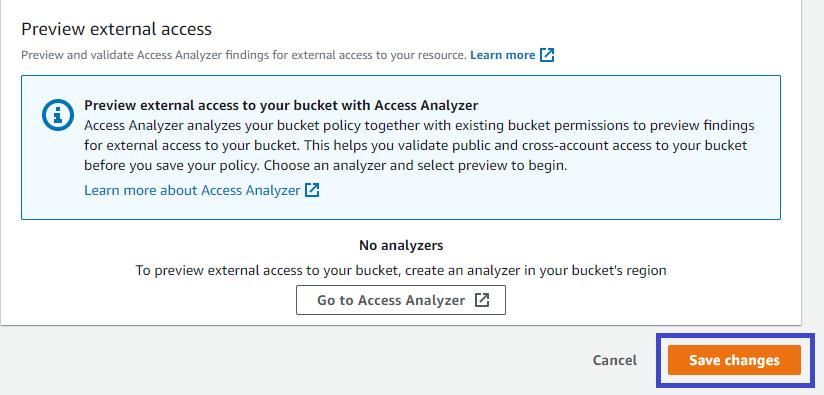 Saving Bucket Policy