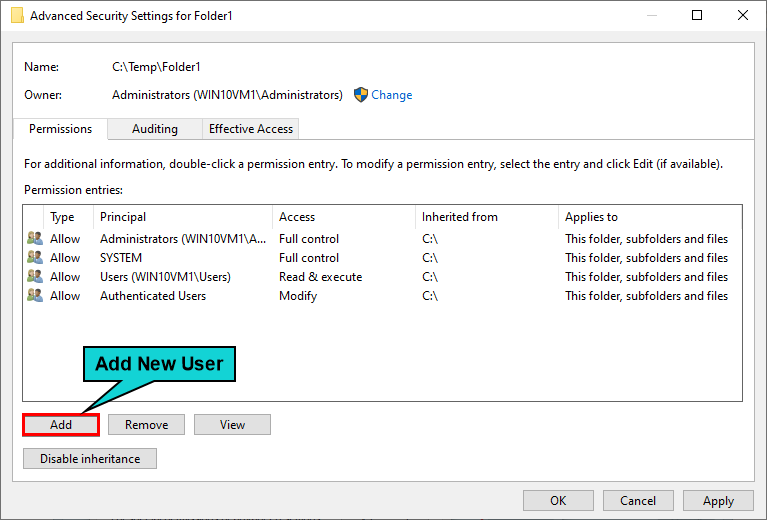 Adding New User to Folder's Permissions