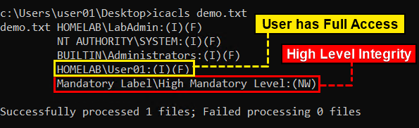 Verifying File's Integrity Level