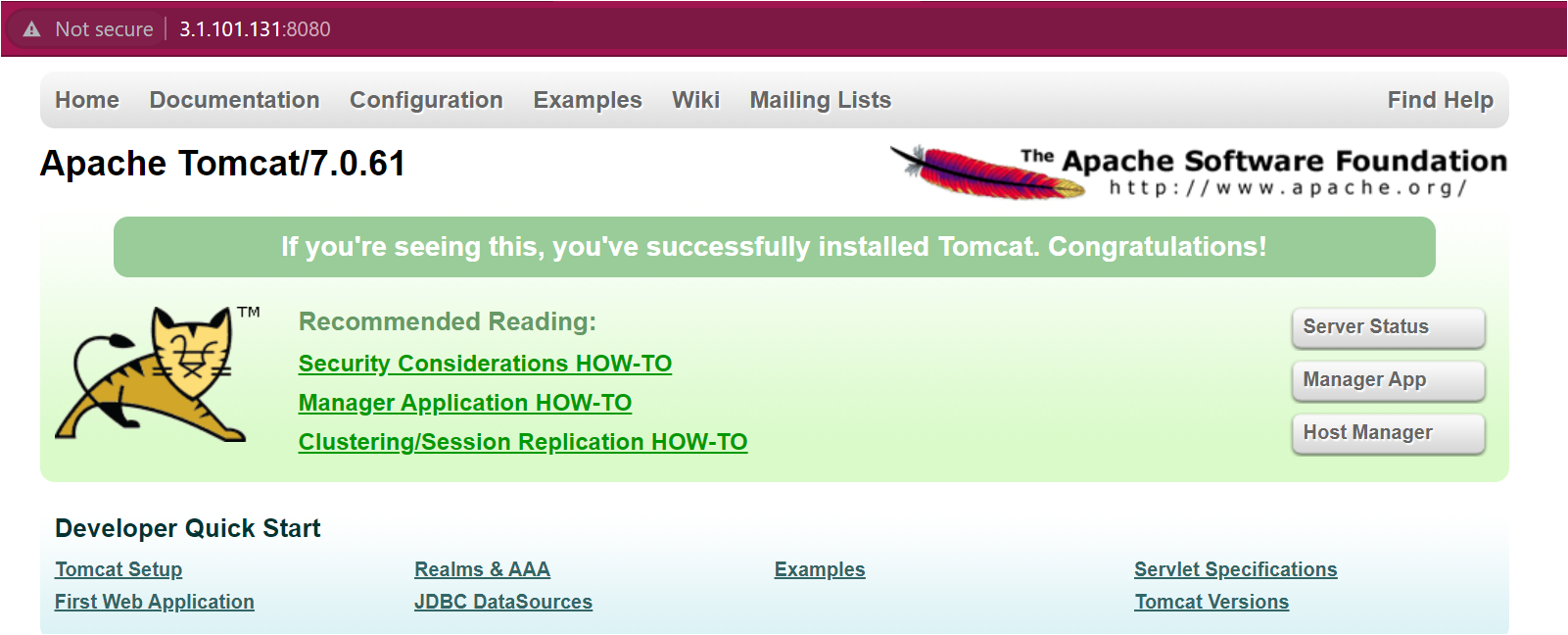 Verifying Apache Tomcat Web Page is Running