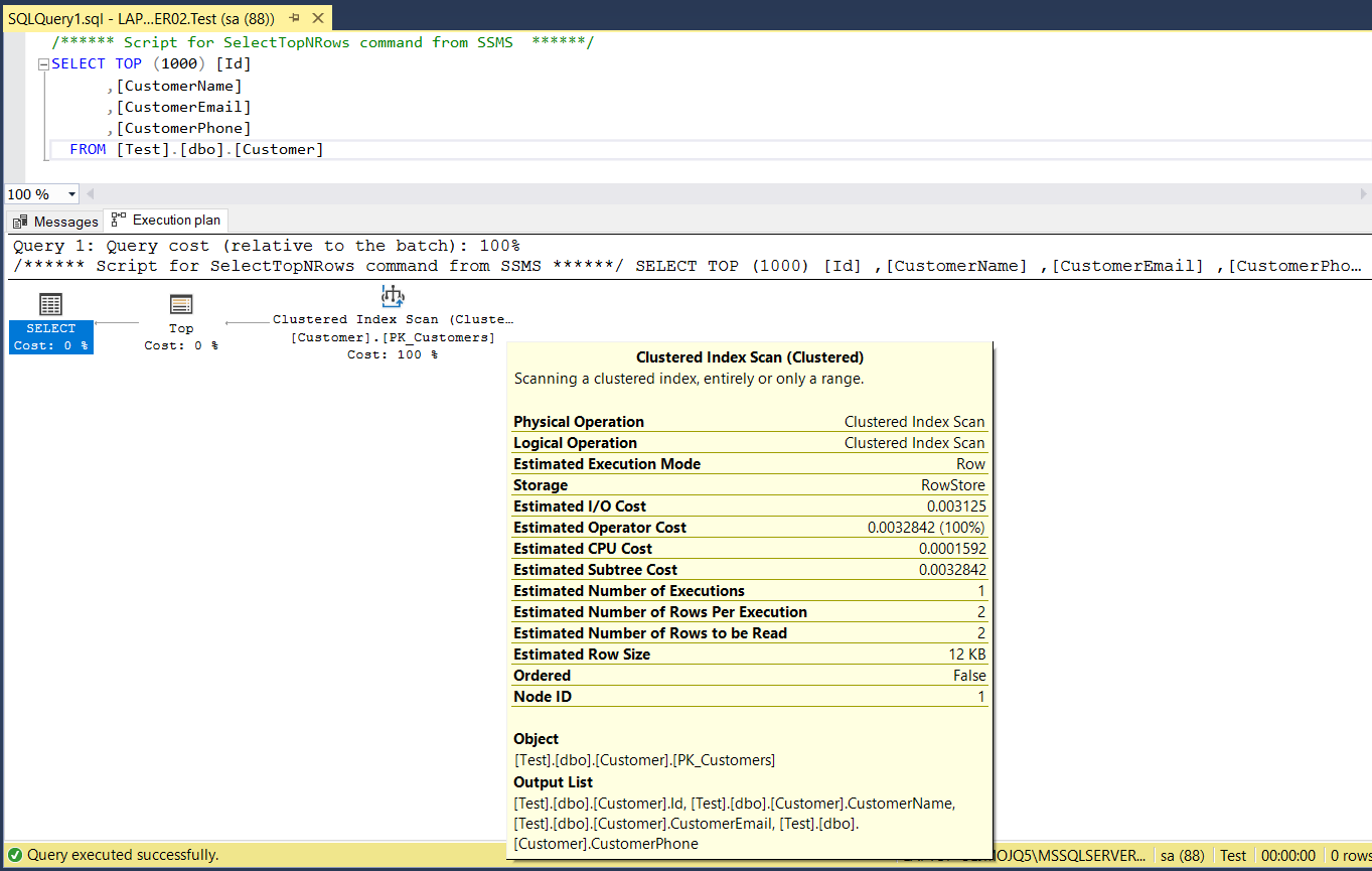 Reviewing a SQL Execution Plan