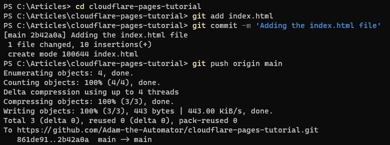 Add, commit, and push the newly created index.html file to GitHub