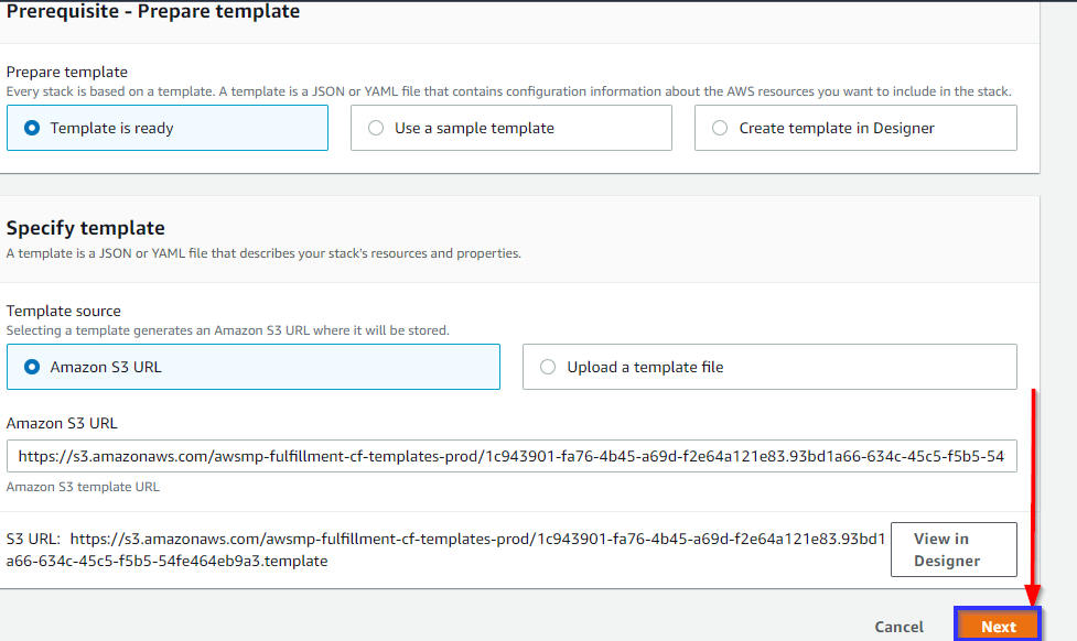 Specifying the CloudFormation stack URL