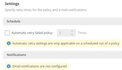 Setting retry settings if the backup should fail