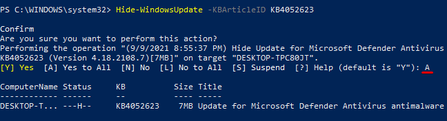 Hiding an Update Based on the Update's KB Number