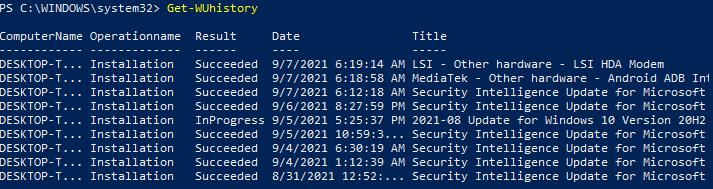 Viewing Windows Update History