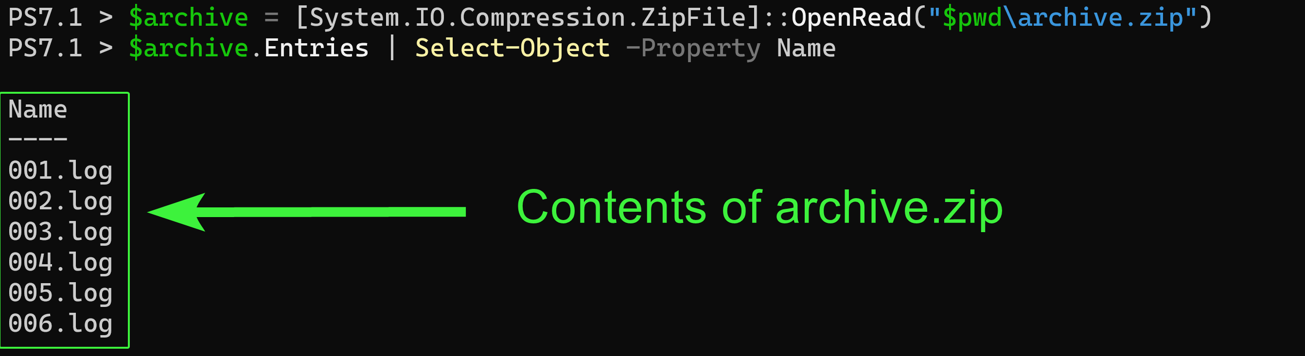 Listing Compressed Files by Name without Extracting Them