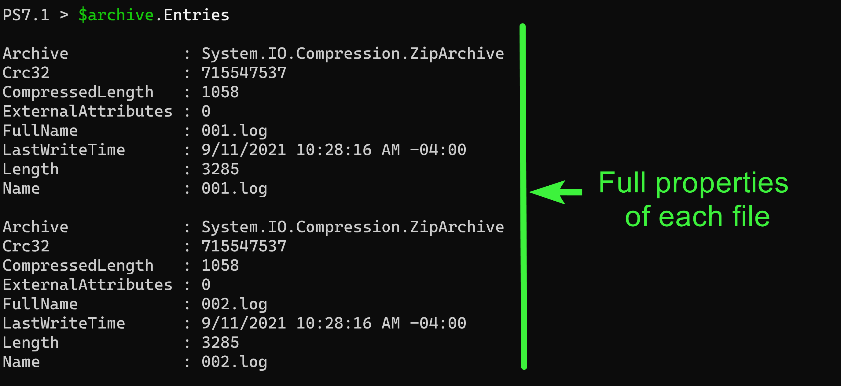 Listing Compressed Files and their Properties without Extracting Them