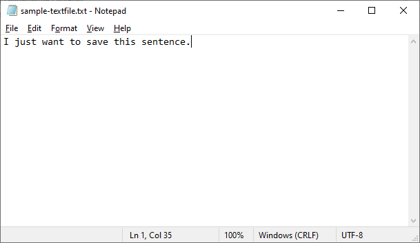 Sample Text File Generated from Python Input Script