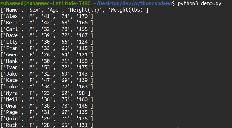 CSV output via the reader() method