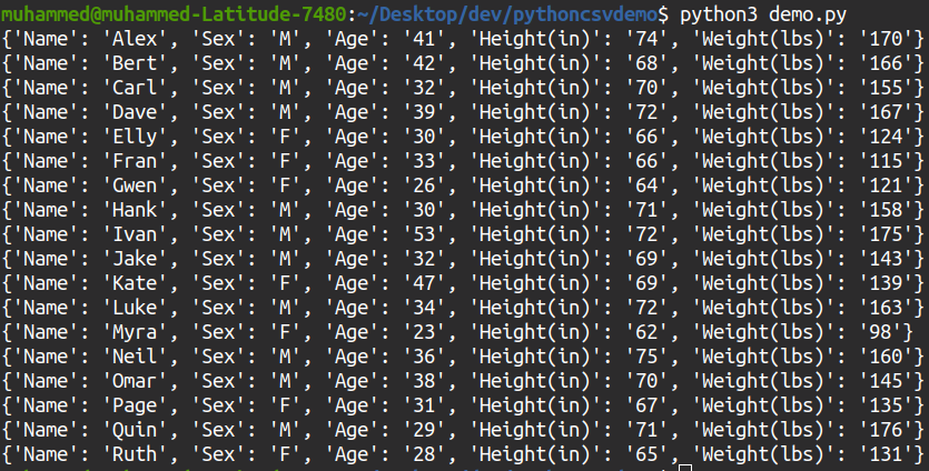 CSV output via the dicteader() method