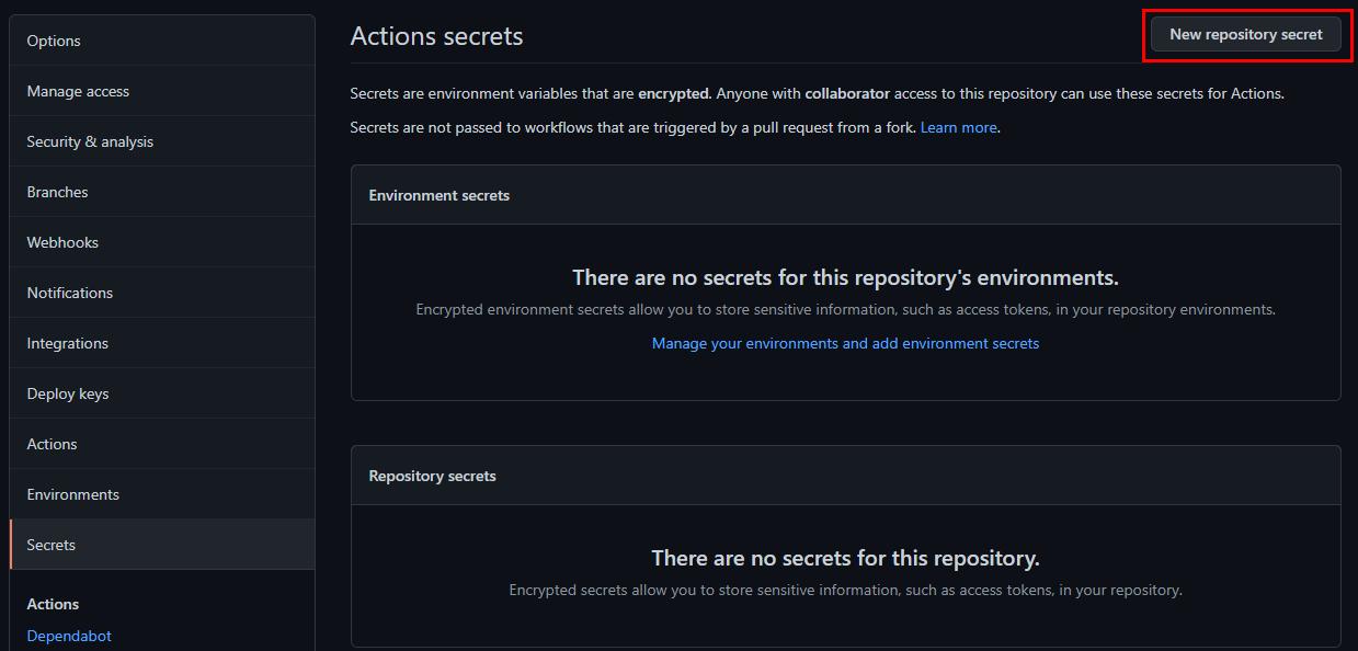 Adding GitHub Secrets