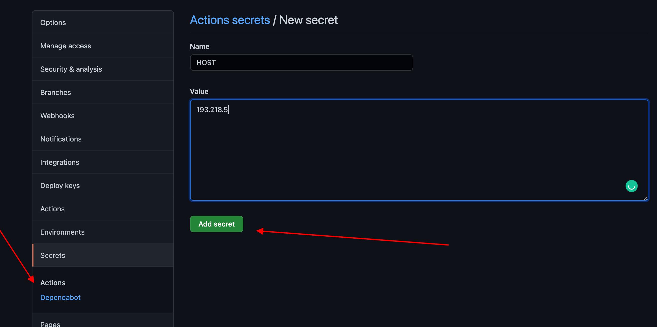 Filling up Information for a GitHub Secret