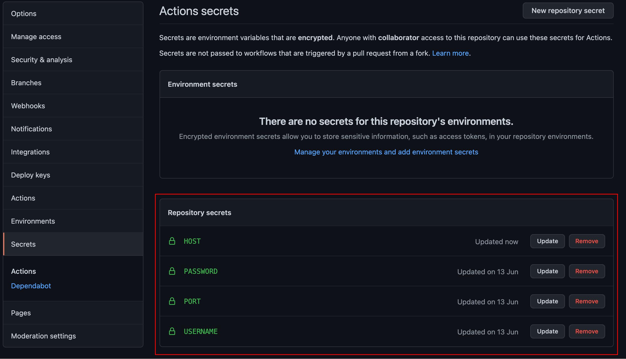 Viewing All GitHub Secrets