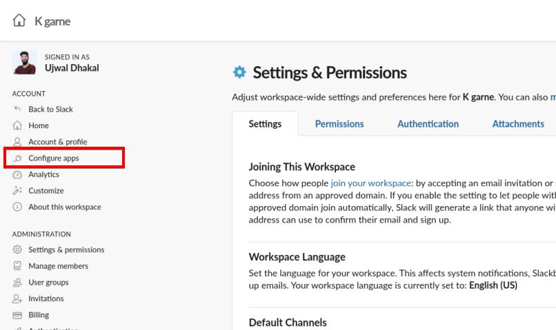 Accessing Slack Admin Settings